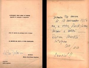Frontespizio e ultima pagina della tesi di Laurea, Firenze, 1950.