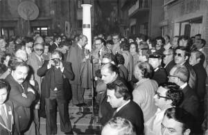 Inaugurazione del monumento al San Giovese, Sant'Arcangelo, 1977.