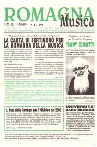 Romagna Musica, rivista dell'Ente Musica Romagna, copertina del numero 2, 1998.
