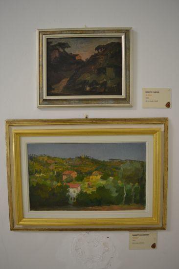 Giuseppe Tampieri, olio su tavola e, sotto, Giannetto Malmerendi, olio su tela